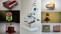 مجموعه 11 مدل سه بعدی با استایل Vintage