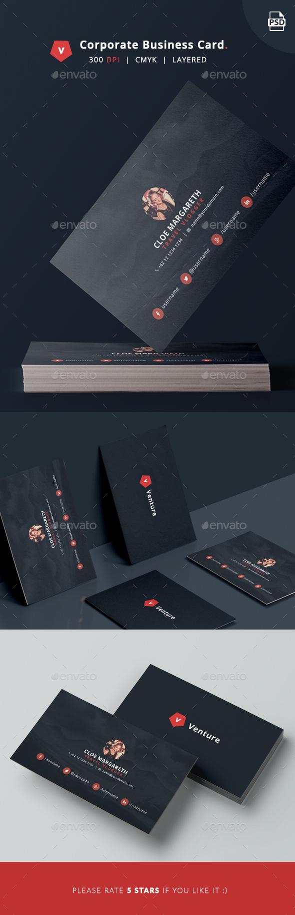 قالب گرافیک کارت ویزیت شرکتی Venture