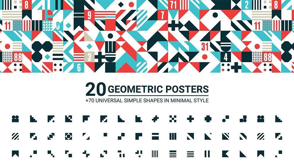 مجموعه 20 پوستر و 70 شکل و المان هندسی