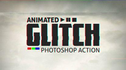 اکشن فتوشاپ انیمیشن قطعی دیجیتال Animated Glitch