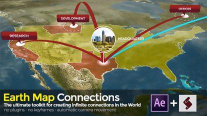 پروژه افترافکت نمایش ارتباطات روی نقشه زمین