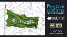 پروژه افترافکت مجموعه انیمیشن پرچم Element 3D Flag Pack