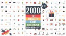 پروژه افترافکت مجموعه 2000 انیمیشن آیکون فلت