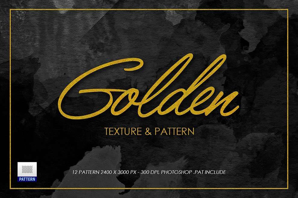 مجموعه 12 تکسچر و پترن فتوشاپ طلا