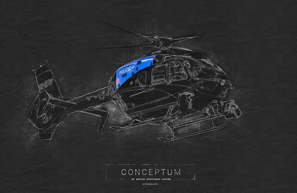 اکشن فتوشاپ طراحی کانسپت با طرح اسکیس سه بعدی Conceptum