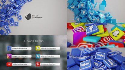 پروژه افترافکت نمایش سه بعدی شبکه های اجتماعی