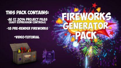 پروژه افترافکت مجموعه اجزای ساخت آتش بازی Fireworks