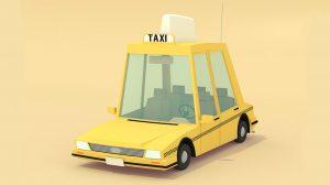 مدل سه بعدی تاکسی زرد با استایل Low Poly