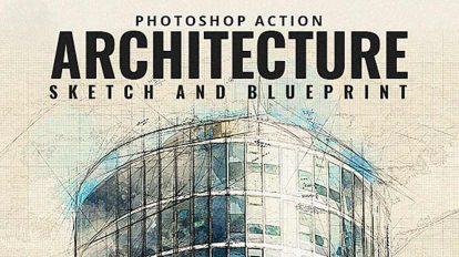 اکشن فتوشاپ طرح و اسکیس معماری