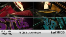 پروژه افترافکت نمایش لوگو LED Studio
