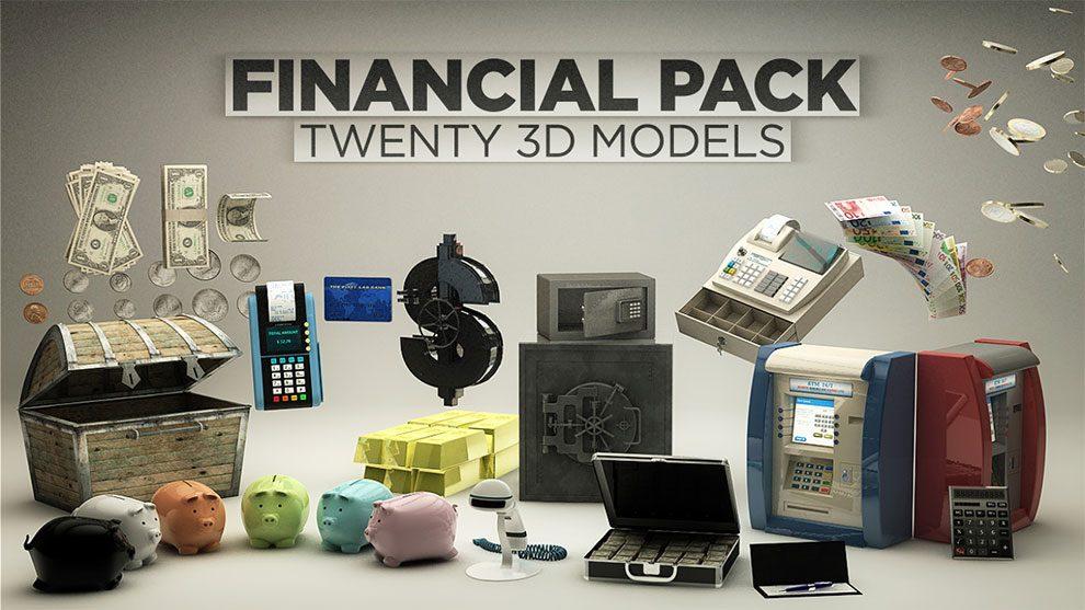 مجموعه مدل سه بعدی مالی برای پلاگین Element 3D