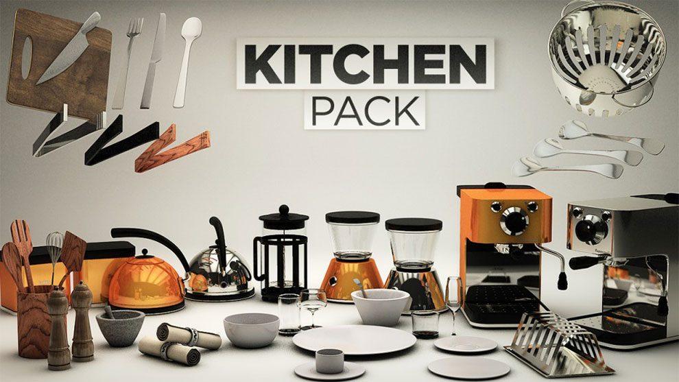 مجموعه مدل سه بعدی وسایل آشپزخانه برای سینما فوردی