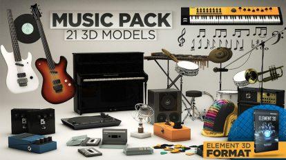 مجموعه مدل سه بعدی موزیک برای پلاگین Element 3D