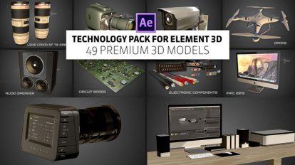 مجموعه مدل سه بعدی تکنولوژی برای پلاگین Element 3D