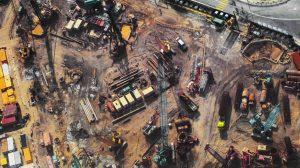 فوتیج ویدیویی تایملپس نمای دید از بالا از محل ساخت و ساز