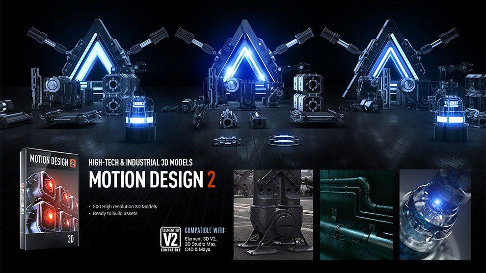 مجموعه مدل سه بعدی Motion Design 2 برای پلاگین Element 3D