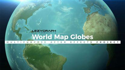 پروژه افترافکت اینفوگرافیک نقشه جهان World Map Globes