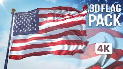 پروژه افترافکت مجموعه پرچم سه بعدی 3D Flag Collection