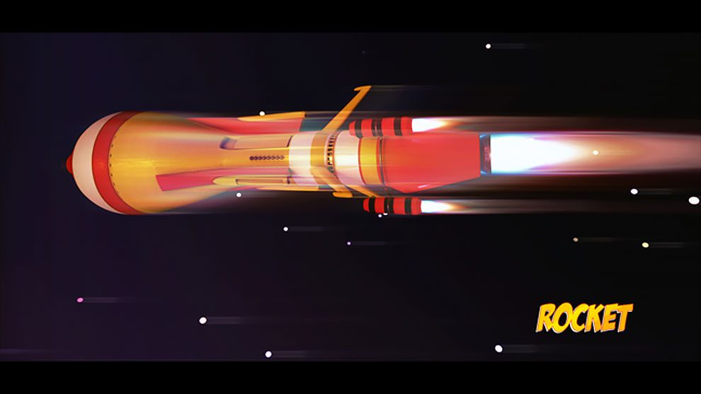 مدل سه بعدی موشک با استایل کارتونی برای سینما فوردی