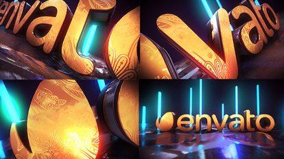 پروژه افترافکت نمایش لوگو نئون طلایی Golden Neon Logo Intro