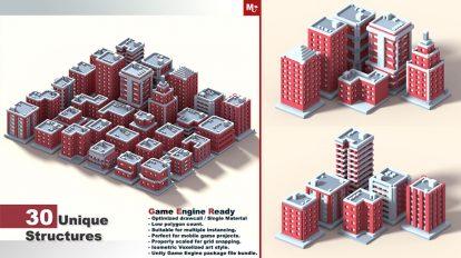 مجموعه مدل سه بعدی ساختمان ایزومتریک Low Poly
