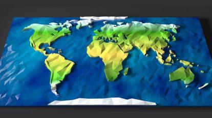 مدل سه بعدی نقشه جهان Low Poly World Map