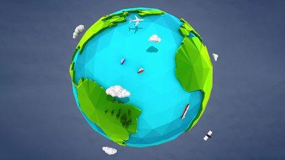 مدل سه بعدی زمین Low Poly Earth