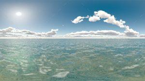 محیط HDRI اقیانوس در روز روشن