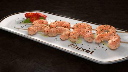 مدل سه بعدی بشقاب سوشی با میگو و گوجه برای سینما فوردی