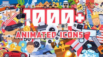 پروژه افترافکت مجموعه 1000 انیمیشن آیکون فلت