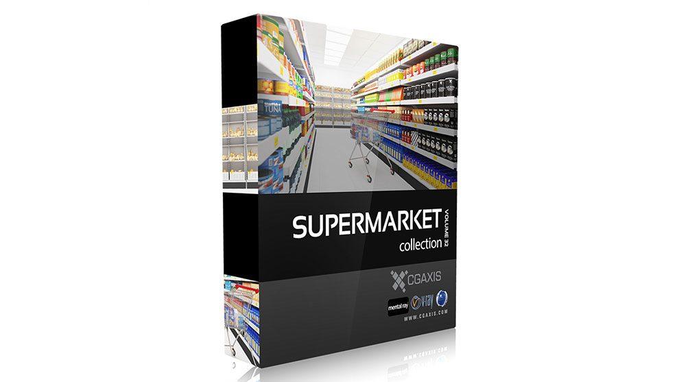 مجموعه مدل سه بعدی سوپرمارکت CGAxis Models Volume 32 Supermarket
