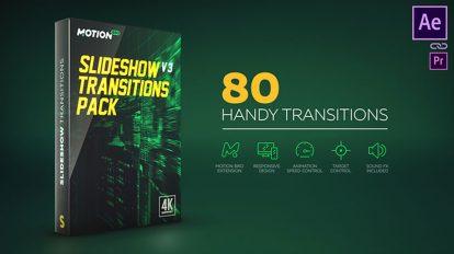 پروژه افترافکت مجموعه 80 ترانزیشن ویدیویی Slideshow Transitions Pack