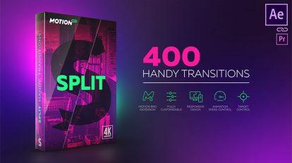 پروژه افترافکت مجموعه 400 ترانزیشن برشی Split Handy Transitions