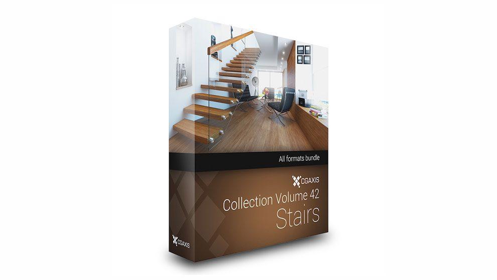 مجموعه مدل سه بعدی پله CGAxis Models Volume 42 Stairs