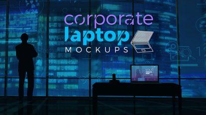 پروژه افترافکت موکاپ لپ تاپ شرکتی Corporate Laptop Mockups
