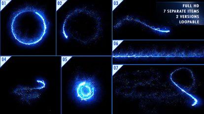 مجموعه ویدیوی موشن گرافیک پرتوهای انرژی نور با ذرات