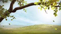 ویدیوی موشن گرافیک ریختن برگ درخت در زمینه تپه و آسمان