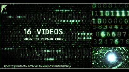 مجموعه 16 ویدیوی موشن گرافیک ماتریکس باینری و کد اعداد