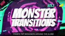 پروژه افترافکت مجموعه ترانزیشن رنگی Monster Transitions