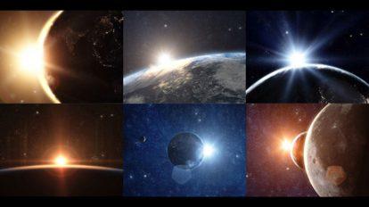 انیمیشن طلوع خورشید روی کره زمین در فضا