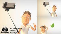 پروژه افترافکت نمایش لوگو سلفی با کاراکتر سه بعدی