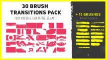 پروژه افترافکت مجموعه 30 ترانزیشن با قلم نقاشی Brush Transitions Pack
