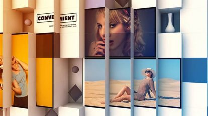 پروژه افترافکت نمایش تصاویر سه بعدی با مکعب