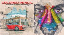 اکشن فتوشاپ افکت نقاشی مداد رنگی متحرک Colored Pencil Animation