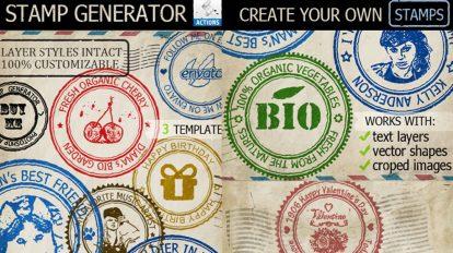 اکشن فتوشاپ ساخت افکت مهر Rubber Stamp Generator