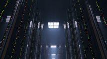 ویدیوی موشن گرافیک حرکت در اتاق تاریک محل نگهداری سرور