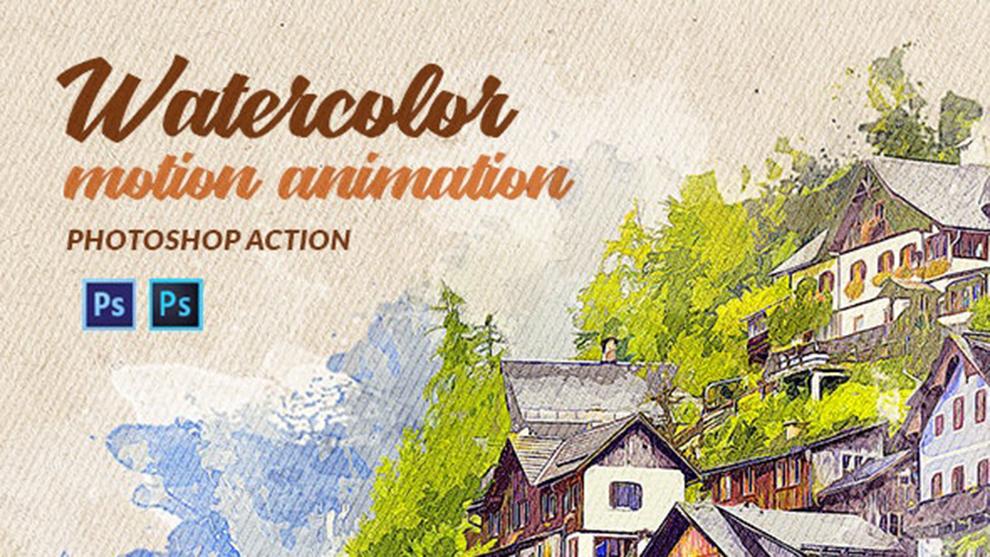 اکشن فتوشاپ افکت نقاشی آبرنگ متحرک Watercolor Motion
