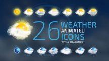 مجموعه ویدیوی موشن گرافیک آیکون آب و هوا Weather Icons