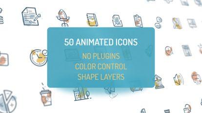 پروژه افترافکت مجموعه 50 انیمیشن آیکون Animated Flat Icons
