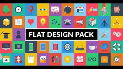 پروژه افترافکت انیمیشن آیکون فلت Flat Design Pack